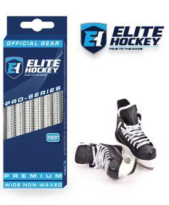 Lacet Pro-Series de Elite Hockey non ciré  Blanc-Noir