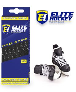 e Hockey Waxed Laces Pro-S700 Black White