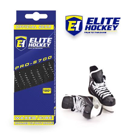 e Hockey Waxed Laces Pro-S700 Black White