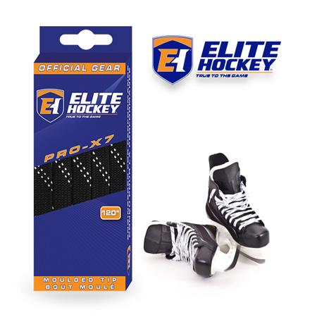 Elite Hockey Pro-X7 Black-White Non Waxed Laces