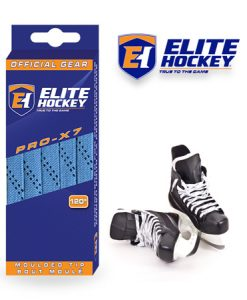 Elite Hockey Pro-X7 Columbia Blue-Navy Non Waxed Laces