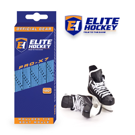 Elite Hockey Pro-X7 Columbia Blue-Navy Non Waxed Laces