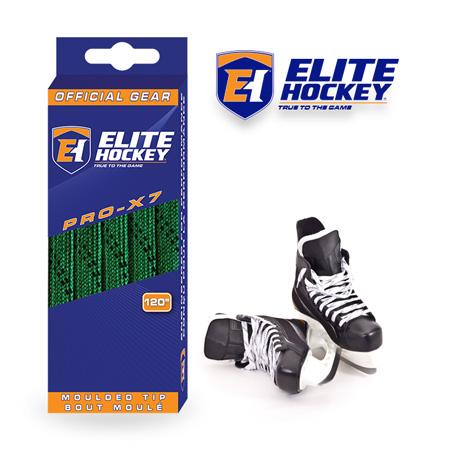 Elite Hockey Pro-X7 Green-Black Non Waxed Laces