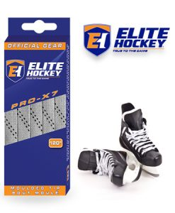 Elite Hockey Pro-X7 Silver Grey-Black Non Waxed Laces