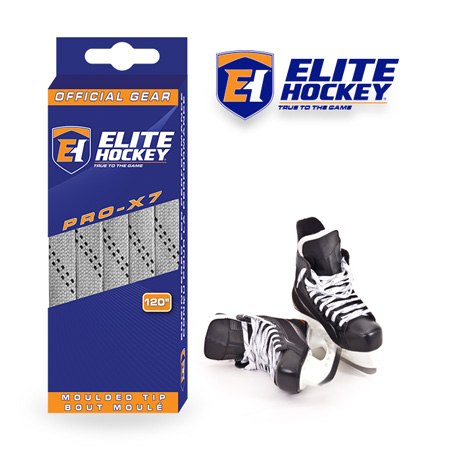 Elite Hockey Pro-X7 Silver Grey-Black Non Waxed Laces