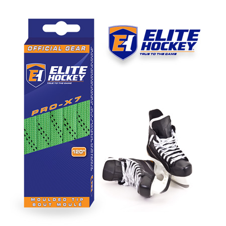 Elite Hockey Pro-X7 Lime Green-White Non Waxed Laces