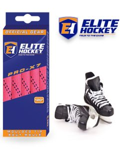 Elite Hockey Pro-X7 Neon Pink-Navy Non Waxed Laces