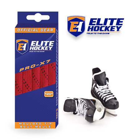 Elite Hockey Pro-X7 Red-Black Non Waxed Laces