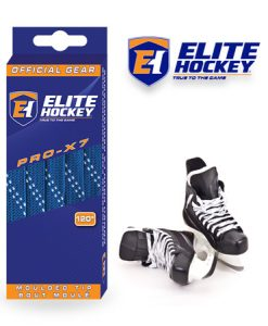 Elite Hockey Pro-X7 Royal-White Non Waxed Laces