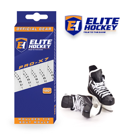 Elite Hockey Pro-X7 White-Black Non Waxed Laces