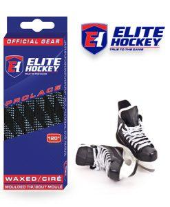 Lacet Prolace de Elite Hockey ciré Noir-Blanc