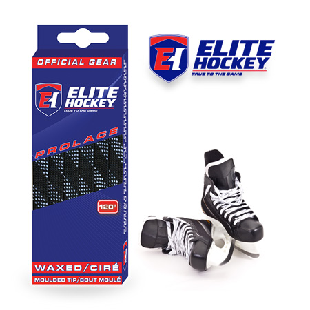 Elite Hockey Prolace Black White Waxed Laces