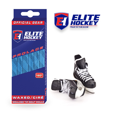 Elite Hockey Prolace Columbia Blue Navy Waxed Laces