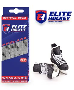 Elite Hockey Prolace Silver Grey Black Waxed Laces