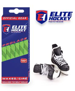 Elite Hockey Prolace Lime-Green Black Waxed Laces