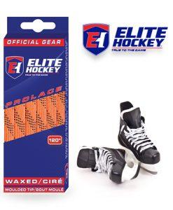 Lacet Prolace de Elite Hockey ciré Orange-Noir