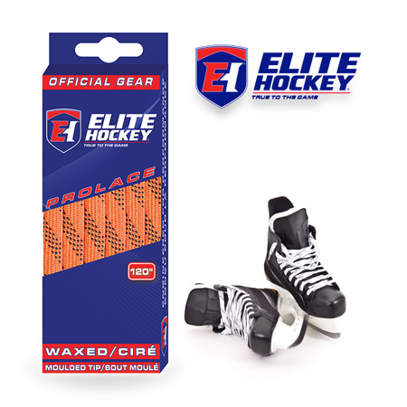 Elite Hockey Prolace Orange Black Waxed Laces