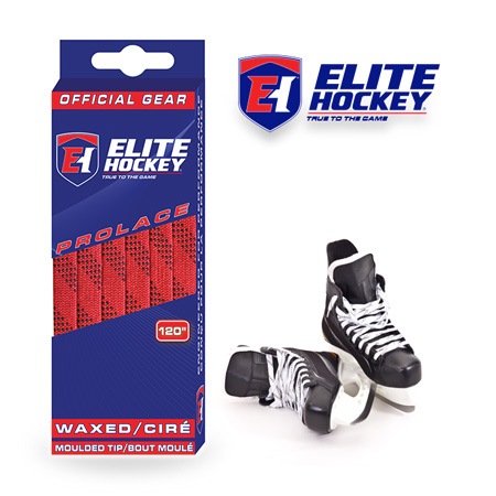 Elite Hockey Prolace Red Black Waxed Laces