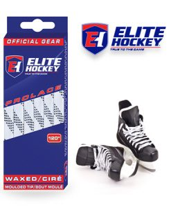 Elite Hockey Prolace White Black Waxed Laces