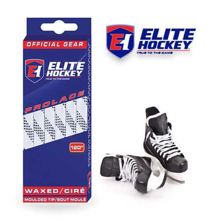 Elite Hockey Prolace White Black Waxed Laces