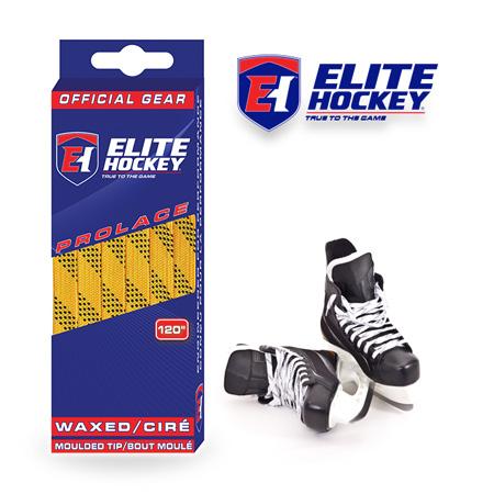 Elite Hockey Prolace Yellow Black Waxed Laces