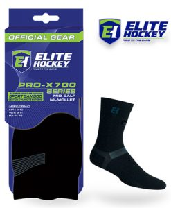 Elite Hockey Bamboo Mid-Calf Black Sock