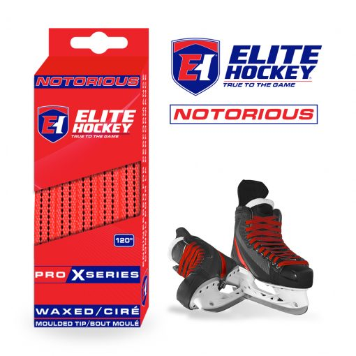 Notorious Pro X Series Waxed Laces Elite Hockey Red