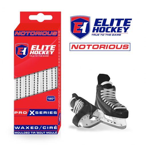 Notorious Pro X Series Waxed Laces Elite Hockey White
